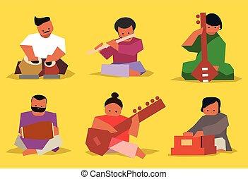 músico, jogo, indianas