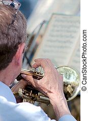 músico, jogos, a, trompete