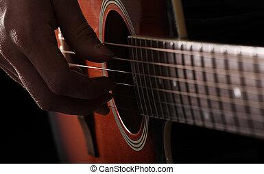 músico, juego, en, guitarra