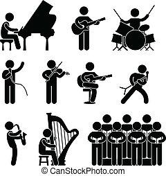 músico, pianista, concerto, coro