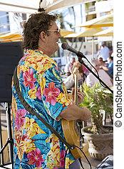 músico, praia