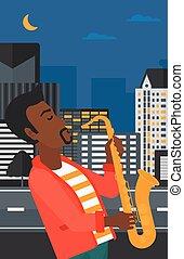 músico, saxophone., tocando