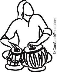 músico, tabla, indianas, tocando