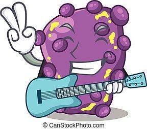 músico, tocando, caricatura, guitarra, shigella, talentoso, desenho