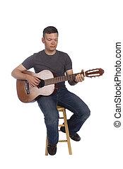 músico, tocando