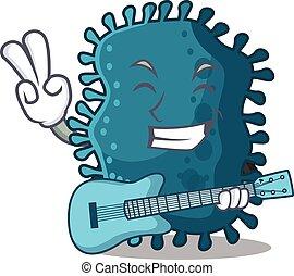 músico, violão jogo, talentoso, clostridium, caricatura, desenho
