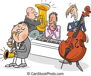 músicos, caracteres, juego, jazz