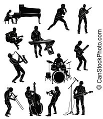 músicos, contrabassist, action:, guitarrista, bassist, keybiardist, pianista, silueta, cantante