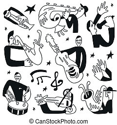músicos jazz, -, doodles, jogo