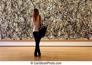 múzeum, modern rajzóra, város, york, új