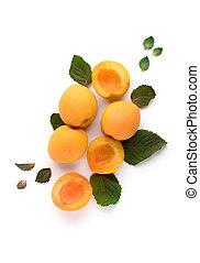 mûre, abricots, feuilles, arrière-plan., savoureux, blanc, menthe