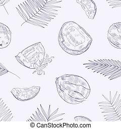 mûre, arbre, noix coco, paume, monochrome, contour, modèle, seamless, exotique, arrière-plan., dessiné, emballage, illustration, main, fleurs, lumière, feuilles, lignes, vecteur, fleurir, frais, toqué, paper.