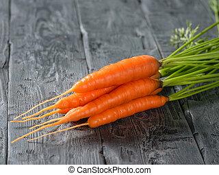 mûre, bois, carottes, text., sombre, endroit, frais, table., tas