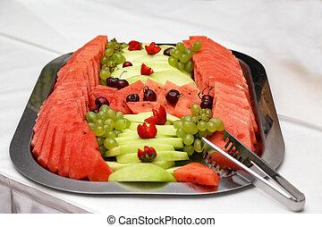 mûre, coupé, cerises, pastèque, melon, décoré, pulpe