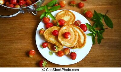 mûre, fraises, doux, crêpes, plaque, frit