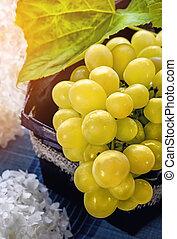 mûre, hydrangeas, clair, sun., raisins, fleurs, tas