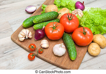 mûre, légumes, haut, planche découper, fin