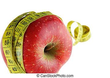 mûre, pomme rouge, à, mètre ruban