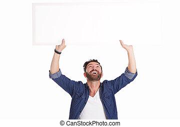 mûrir, affiche, signe, rire, tenue, vide, homme