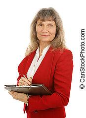 mûrir, agent immobilier, femme affaires, ou