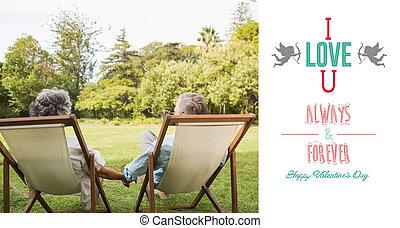 mûrir, composite, couple, parc, heureux, image, séance