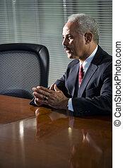 mûrir, conférence, homme affaires, américain, séance, table, africaine