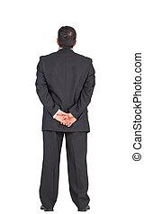 mûrir, derrière, debout, mains arrière, homme affaires