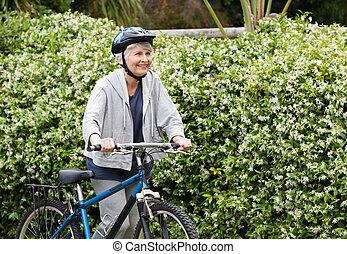 mûrir, elle, vélo, marche, montagne, femme