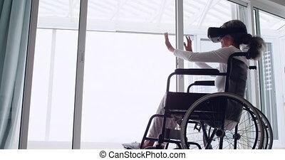 mûrir, fauteuil roulant, utilisation, vr, femme