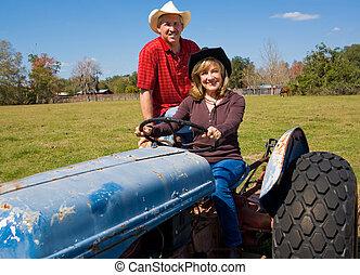 mûrir, ferme, couple, sur, tracteur
