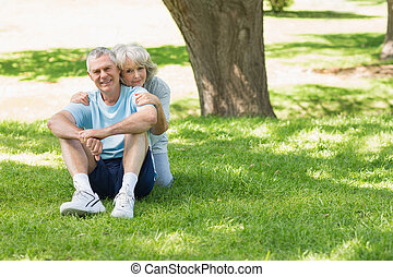 mûrir, herbe, parc, couple, séance