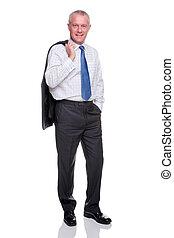 mûrir, homme affaires, plein portrait longueur