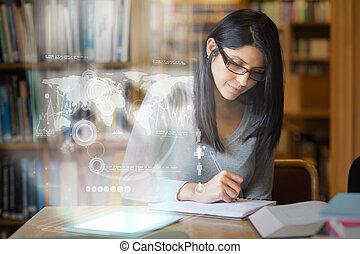 mûrir, interface, numérique, étudier, étudiant, université, international, bibliothèque, sérieux, commercer