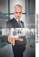 mûrir, interface, utilisation, futuriste, homme affaires