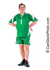 mûrir, isolé, poser, homme, vert, vêtements de sport, habillé