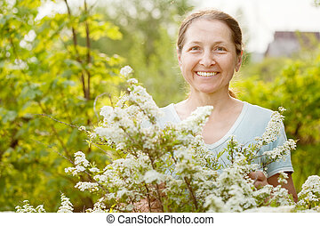 mûrir, jardinier, heureux