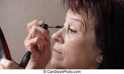 mûrir, maquillage, maison, femme