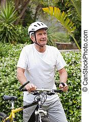 mûrir, marche, vélo, sien, homme montagne