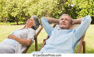 mûrir, soleil, couple, délassant, loungers, séance