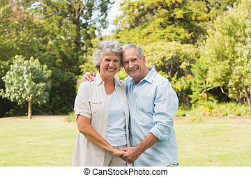 mûrir, sourire, couple, heureux