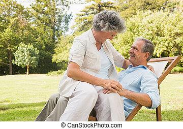 mûrir, sourire, couple, parc