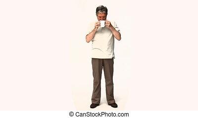 mûrir, tasse à café, homme, boire