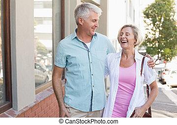 mûrir, ville, marche, couple, heureux