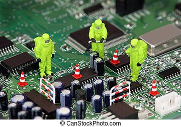mülltrennung, elektronik, begriff