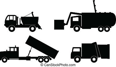 müllwagen, vektor, abbildung