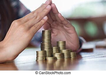 münzen., finanziell, concept., sicherheit, schuetzen, geschäftsmann