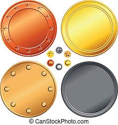 münzen., satz, gold, vektor, silber, bronze