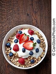 müslis bunke, och, yoghurt, med, frisk, bär