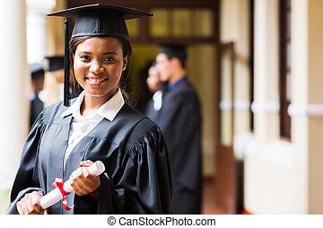 mądry, afrykanin, uniwersytet, absolwent