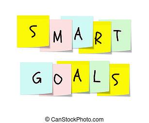 mądry, cele, na, barwny, klejowaty notatnik